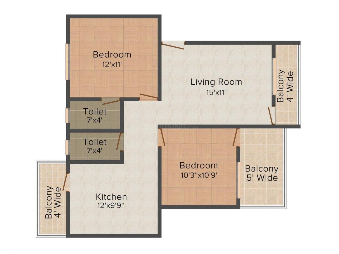Floor Plan Image of 1072.0 - 1274.0 Sq.ft 2 BHK Apartment for buy in Earth Lotus - 1 Apartment