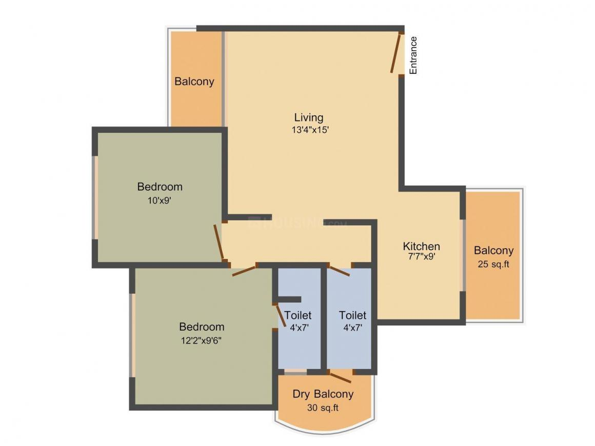 Floor Plan Image of 1111.0 - 1386.0 Sq.ft 2 BHK Apartment for buy in Aryan Land Breeze