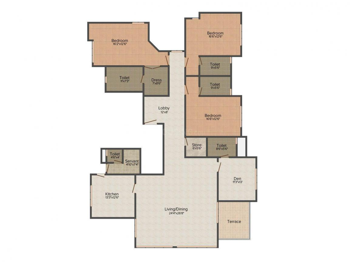 Kohinoor High Point Floor Plan: 3 BHK Unit with Built up area of 3200 sq.ft 1