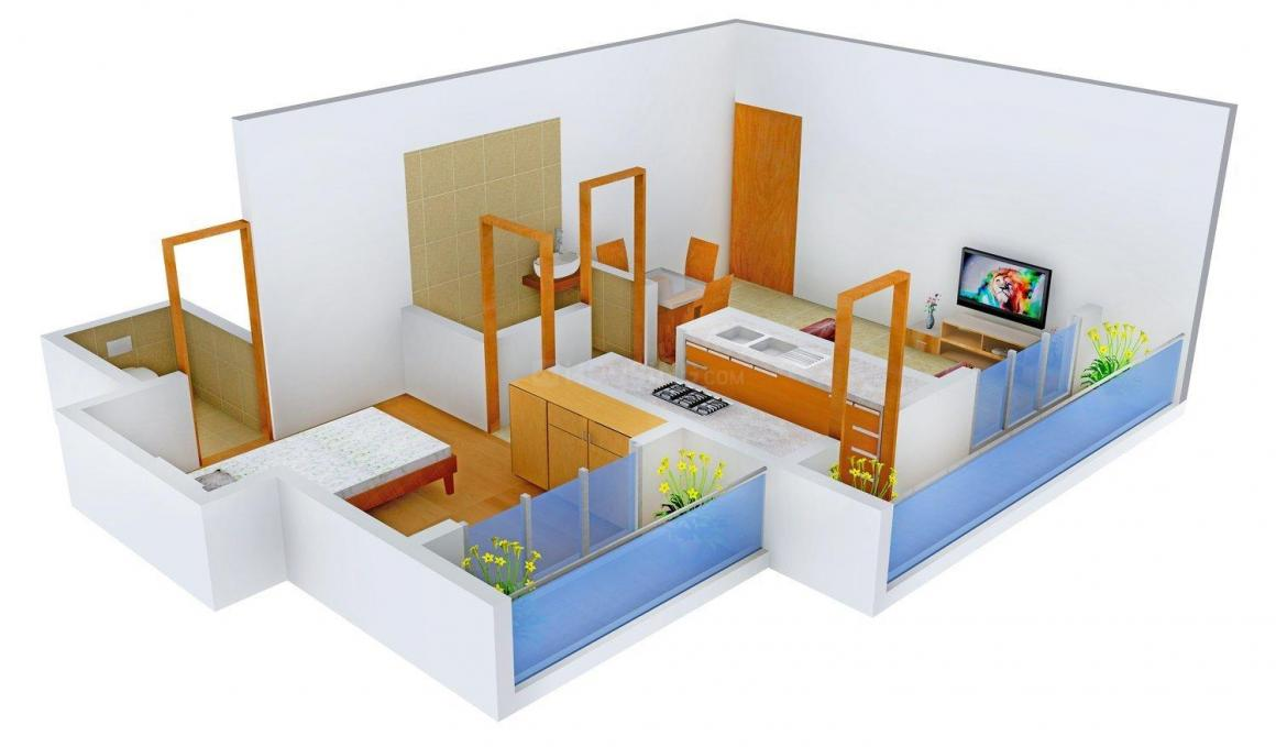 Floor Plan Image of 534.0 - 680.0 Sq.ft 1 BHK Apartment for buy in Goldfield Shreenath Avenue
