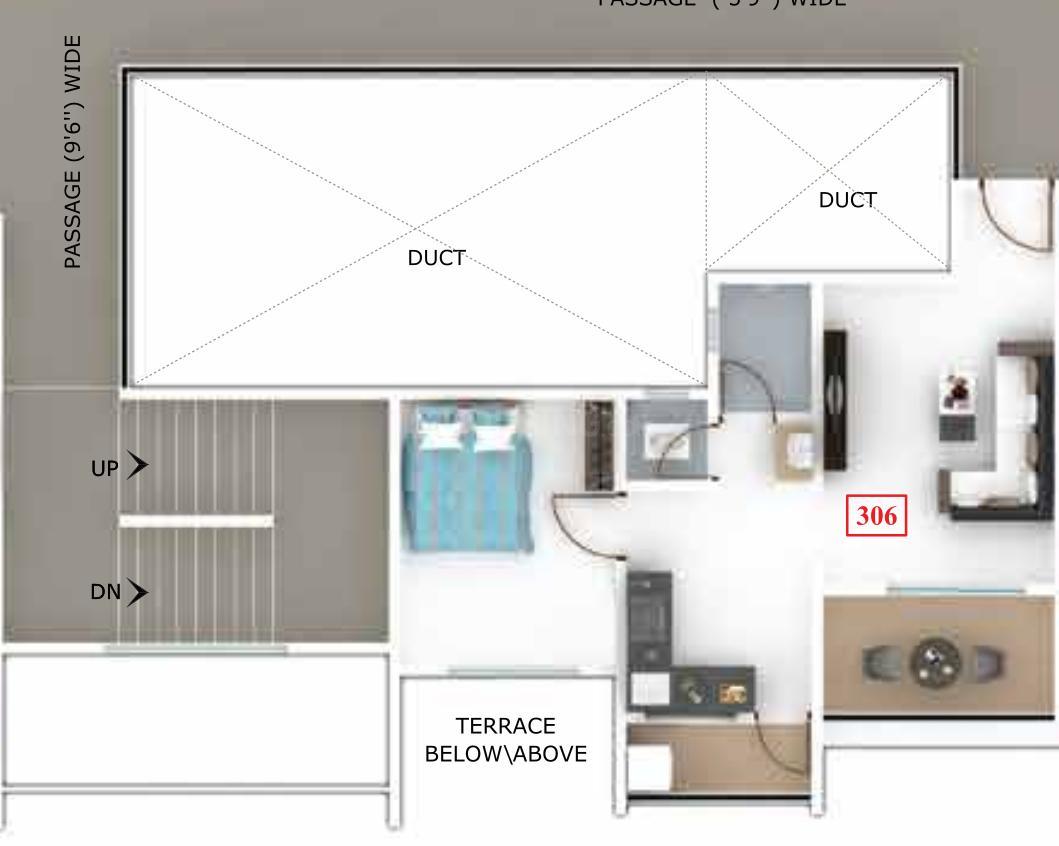 Raghunandan Kasturi Floor Plan: 1 BHK Unit with Built up area of 398 sq.ft 1