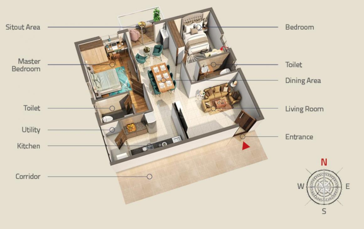 PVR Maha Floor Plan: 2 BHK Unit with Built up area of 1182 sq.ft 1