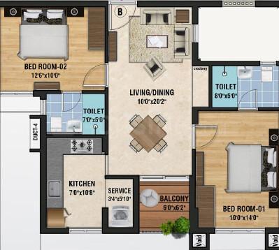 Sristi Millennium Floor Plan: 2 BHK Unit with Built up area of 968 sq.ft 1