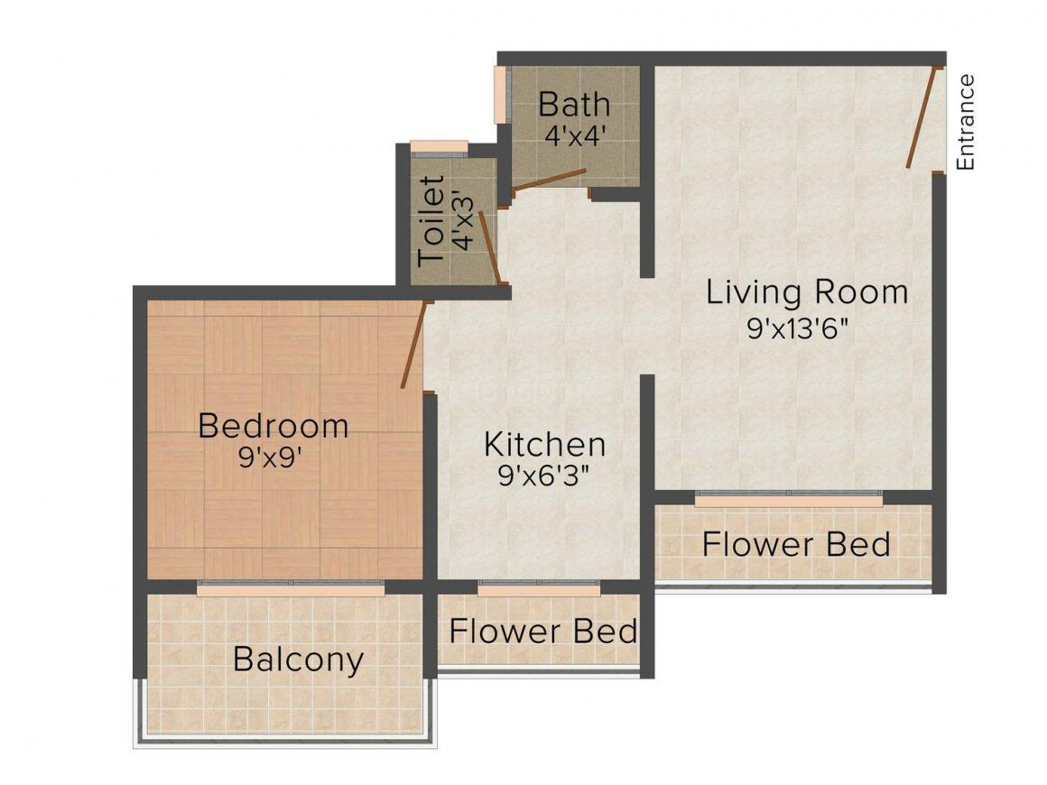 Simran's Sapphire Floor Plan: 1 BHK Unit with Built up area of 625 sq.ft 1