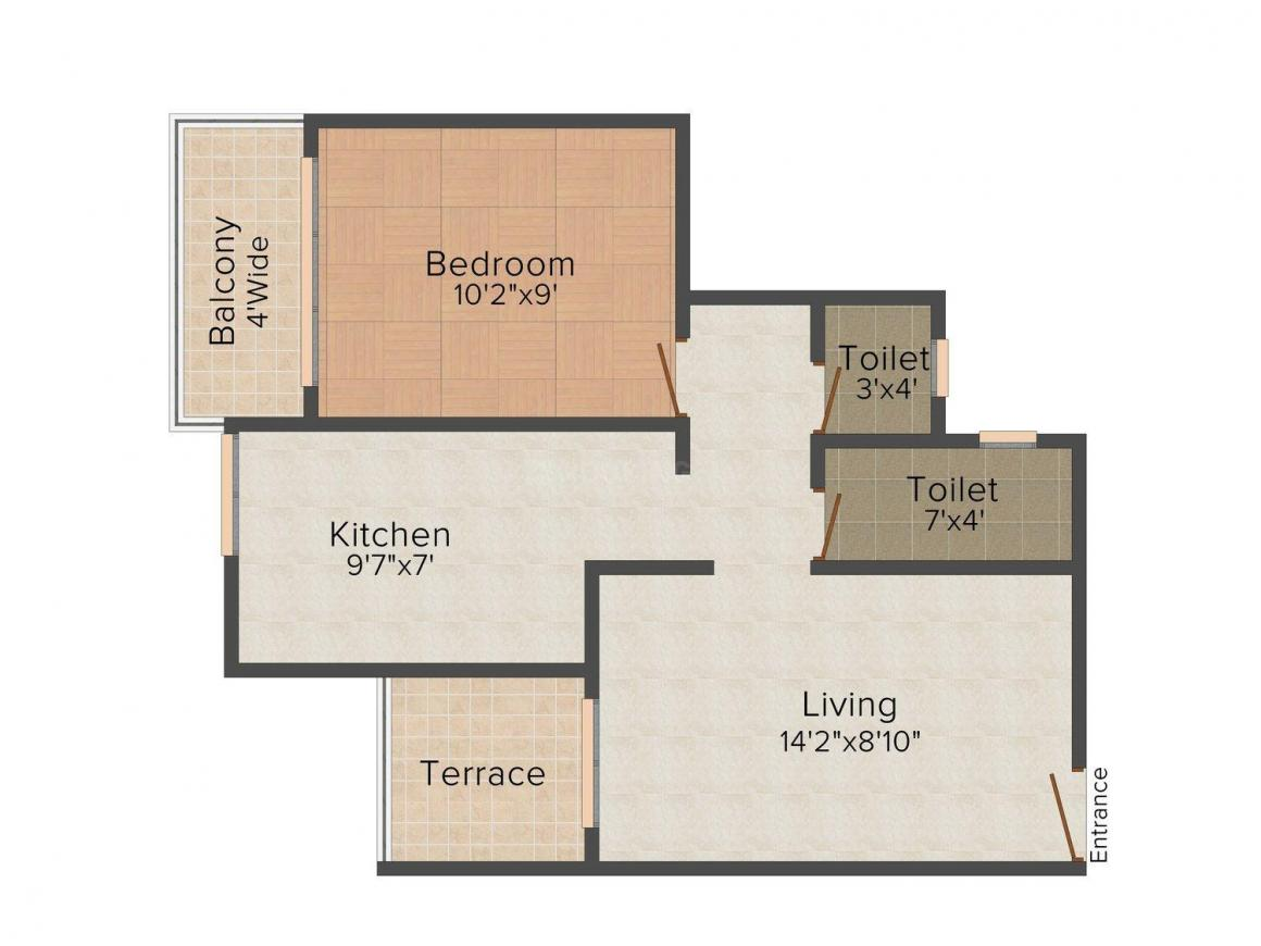 Floor Plan Image of 0 - 595.0 Sq.ft 1 BHK Apartment for buy in Shree Jagannath Residency