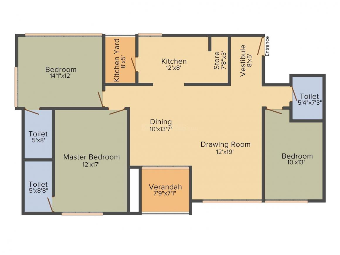 Goyal Riviera Elite  Floor Plan: 3 BHK Unit with Built up area of 2233 sq.ft 1
