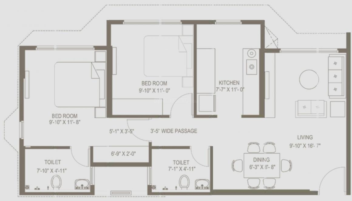 Dhaval Sunrise Charkop Floor Plan: 2 BHK Unit with Built up area of 663 sq.ft 1