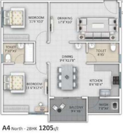 Ankuraa Lotus Floor Plan: 2 BHK Unit with Built up area of 1205 sq.ft 1