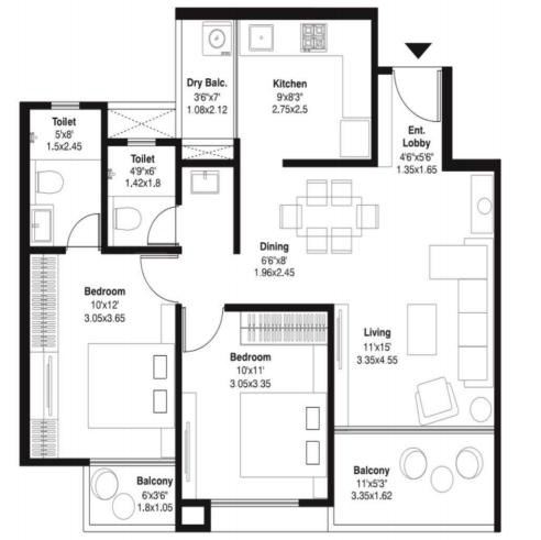 Mantra Monarch Phase 2 Floor Plan: 2 BHK Unit with Built up area of 685 sq.ft 1