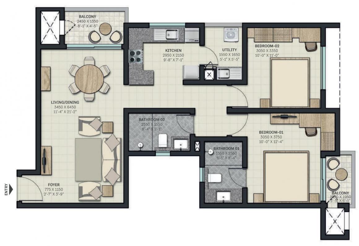 Sobha Nesara Block 1 Floor Plan: 3 BHK Unit with Built up area of 777 sq.ft 1