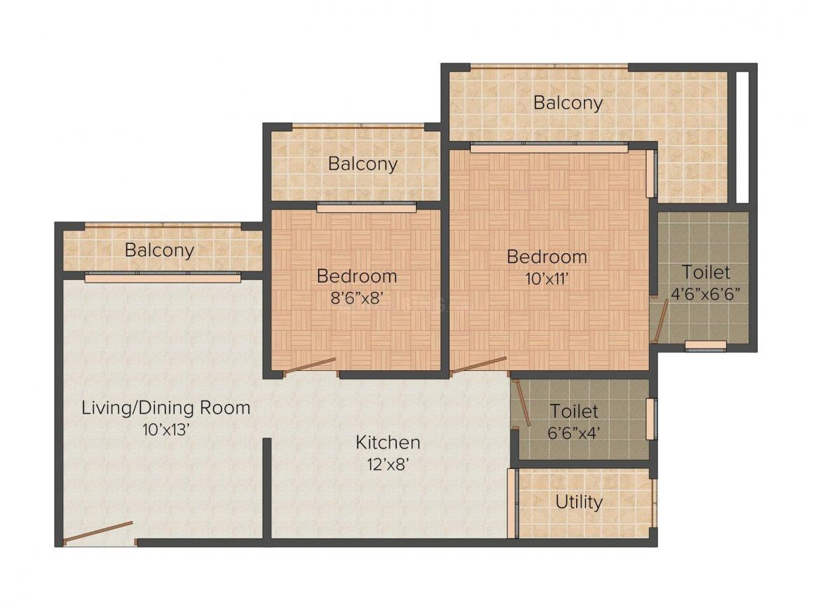 Floor Plan Image of 1050 - 1270 Sq.ft 2 BHK Apartment for buy in Sanghvi Shree Mohankheda Heights