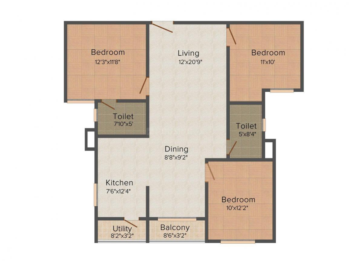 Floor Plan Image of 0 - 1305 Sq.ft 3 BHK Apartment for buy in Vakil Whispering Woods Residence