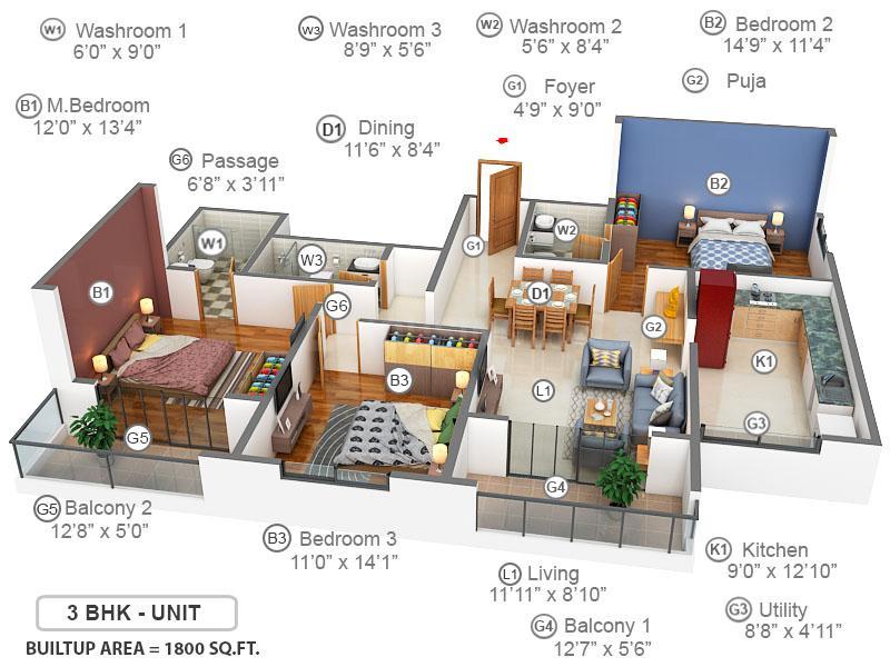 Prestige Bella Vista Floor Plan: 3 BHK Unit with Built up area of 1800 sq.ft 1