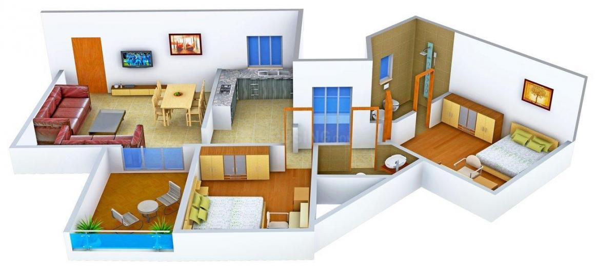 Floor Plan Image of 965.0 - 1457.0 Sq.ft 2 BHK Apartment for buy in KUL Kruti