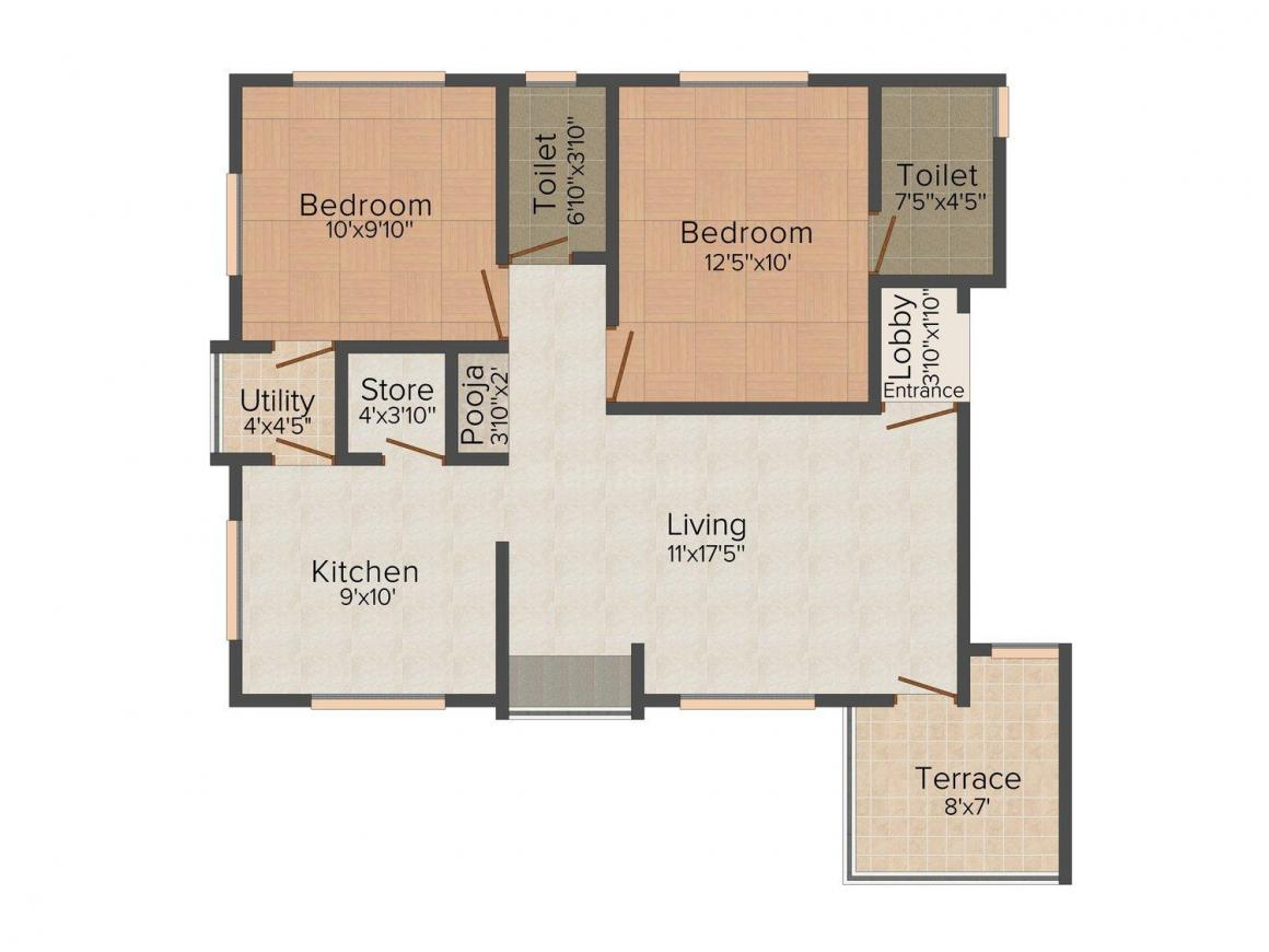 Floor Plan Image of 0 - 890.0 Sq.ft 2 BHK Apartment for buy in Lakshya Arcadia