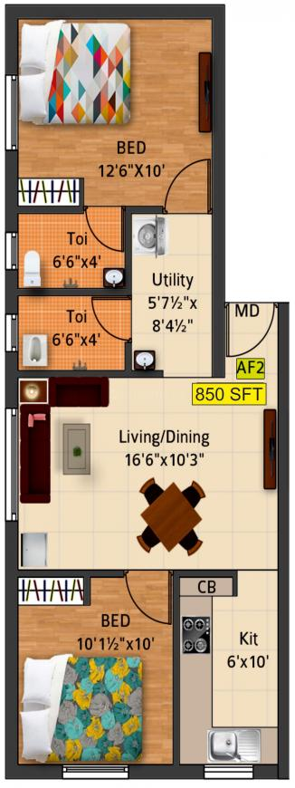 Bharathi Sai Oaks Floor Plan: 2 BHK Unit with Built up area of 850 sq.ft 1