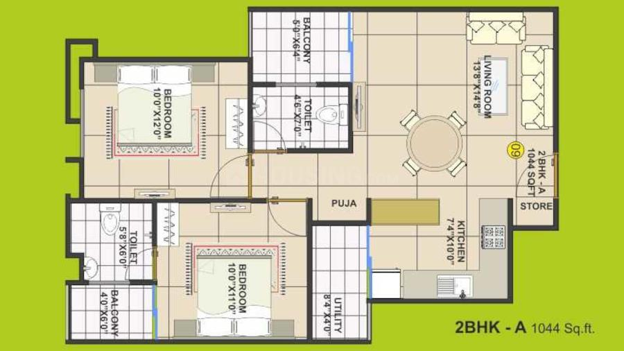 Trishla Apartment Floor Plan: 2 BHK Unit with Built up area of 1044 sq.ft 1