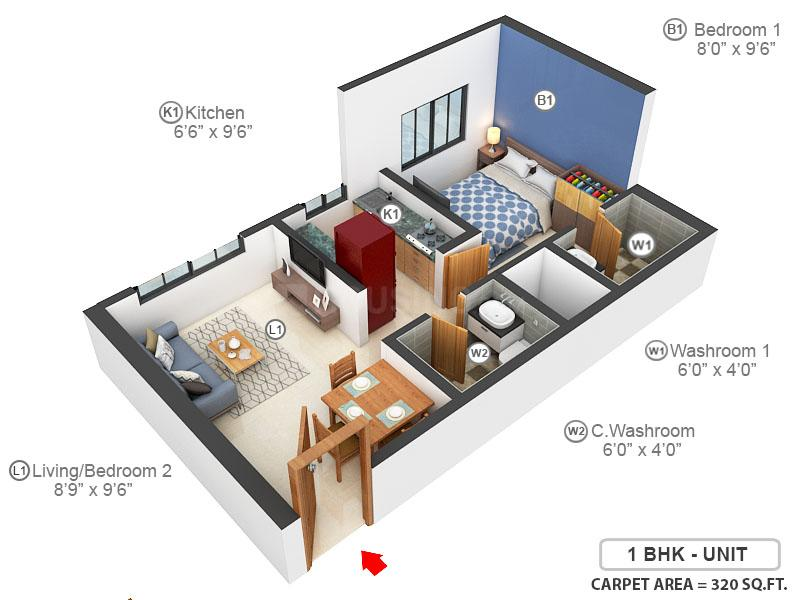 Vardhan Heights Floor Plan: 1 BHK Unit with Built up area of 320 sq.ft 1