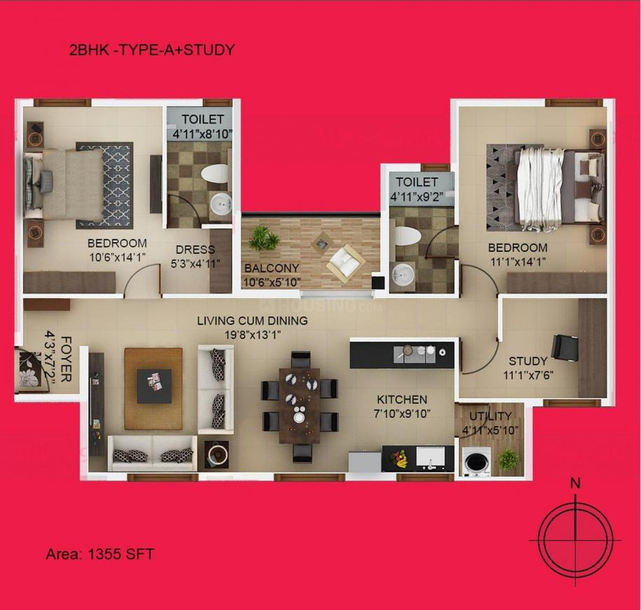 High Cliff Floor Plan: 2 BHK Unit with Built up area of 922 sq.ft 1