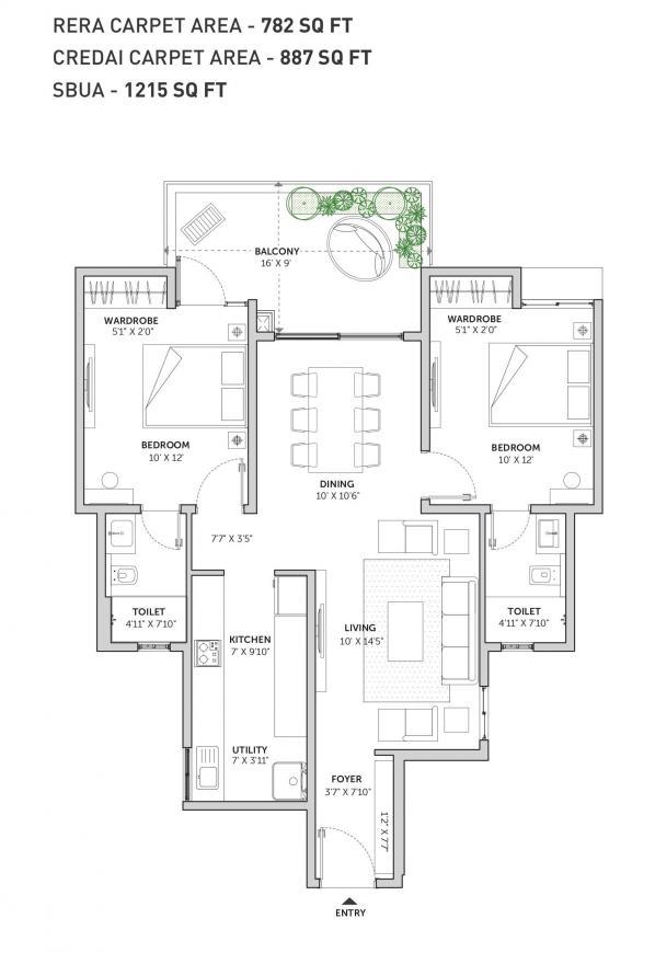 Assetz Sun And Sanctum Floor Plan: 2 BHK Unit with Built up area of 782 sq.ft 1