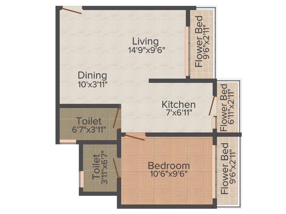 Floor Plan Image of 457.0 - 689.0 Sq.ft 1 BHK Apartment for buy in Neminath Paradise