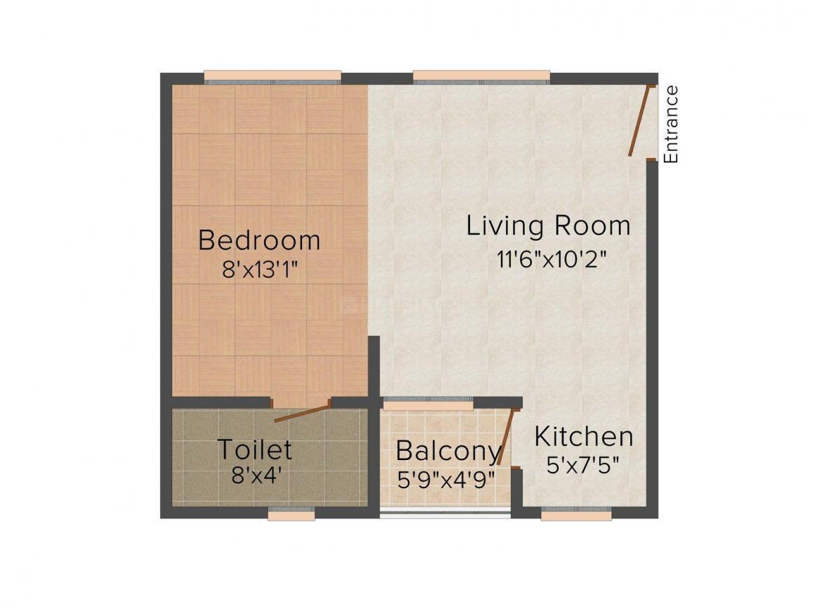 Floor Plan Image of 700.0 - 780.0 Sq.ft 1 BHK Studio Apartment for buy in Vimosh Vita Costiera
