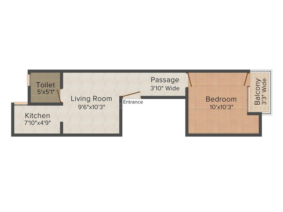 Floor Plan Image of 0 - 440.0 Sq.ft 1 BHK Independent Floor for buy in Amrit Homes 1