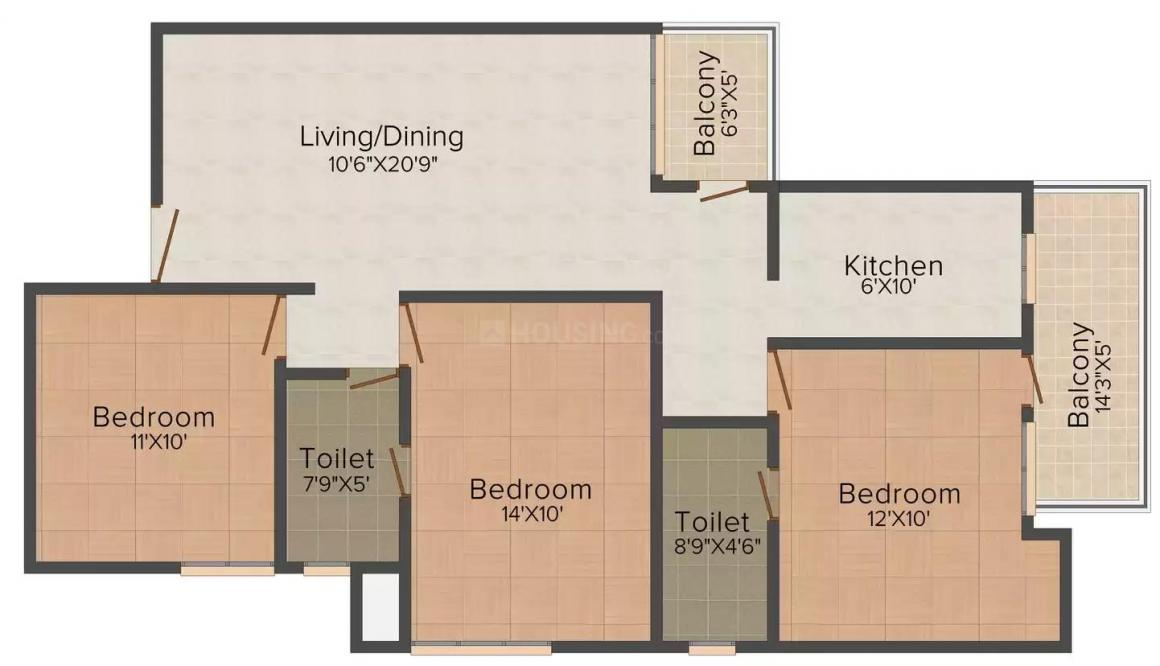 Floor Plan Image of 1125.0 - 1683.0 Sq.ft 3 BHK Apartment for buy in Sare Crescent Green Park