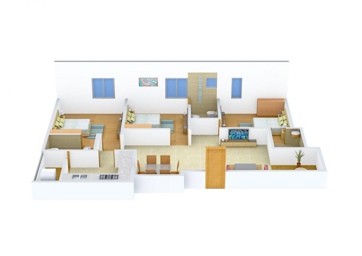 Floor Plan Image of 0 - 1300 Sq.ft 3 BHK Apartment for buy in Bhumika Pearl