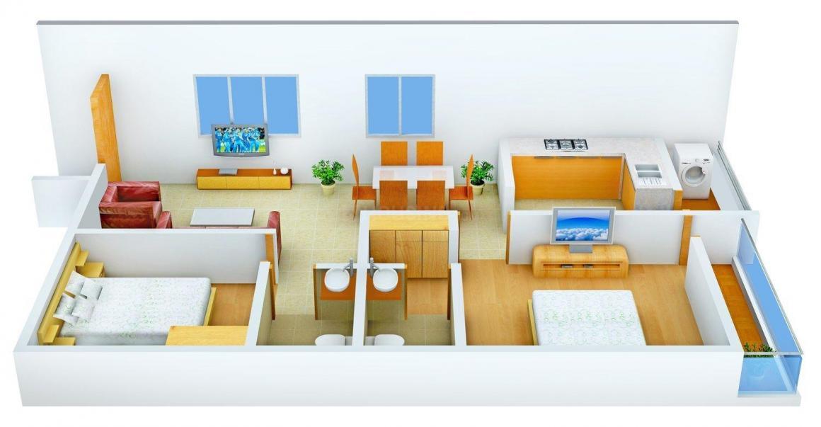 Vaastu Residency Floor Plan: 2 BHK Unit with Built up area of 995 sq.ft 1