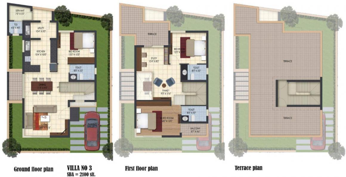 BSCPL Bollineni Iris Floor Plan: 3 BHK Unit with Built up area of 2100 sq.ft 1