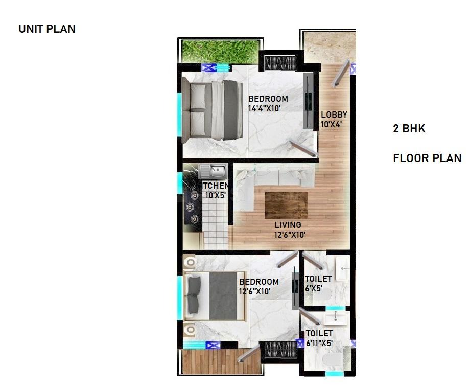 Mahadev Apartment Floor Plan: 2 BHK Unit with Built up area of 750 sq.ft 1