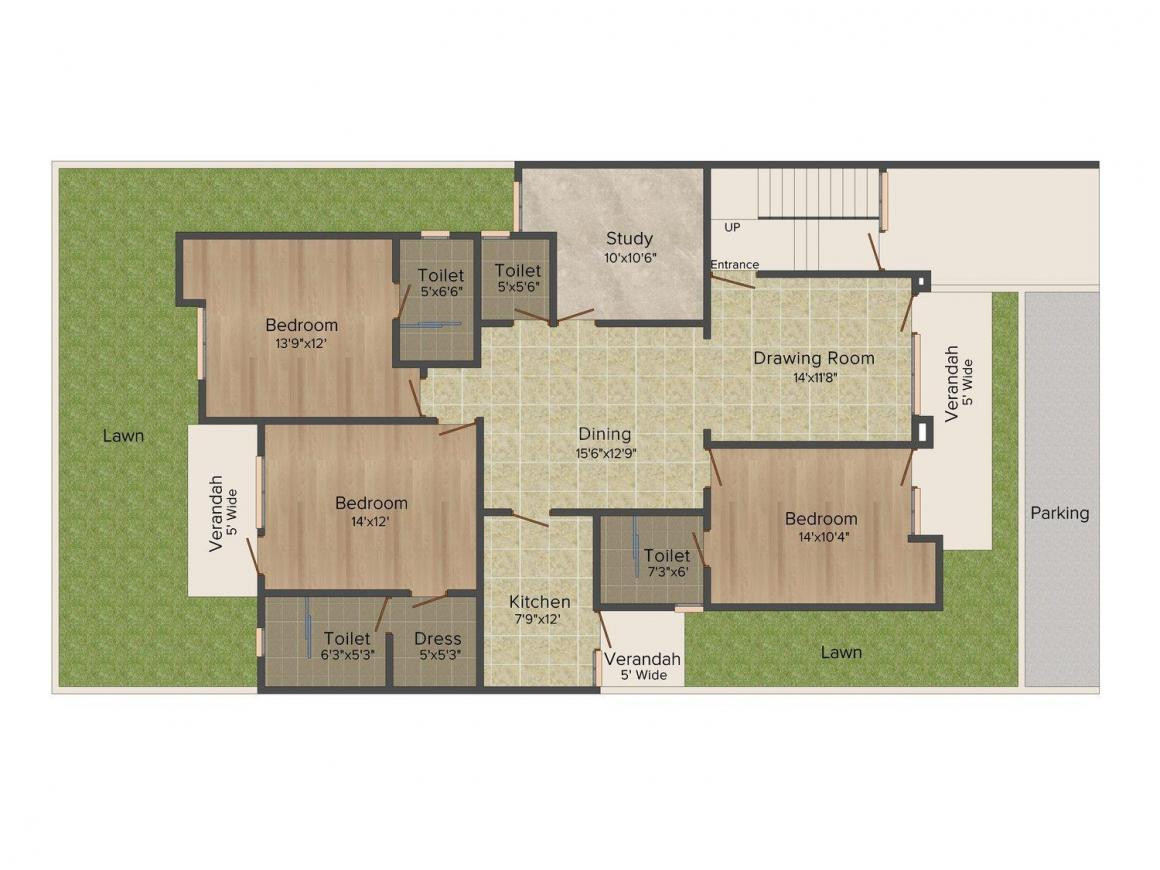Floor Plan Image of 0 - 1706.0 Sq.ft 3.5 BHK Apartment for buy in Parsvnath Panchvati