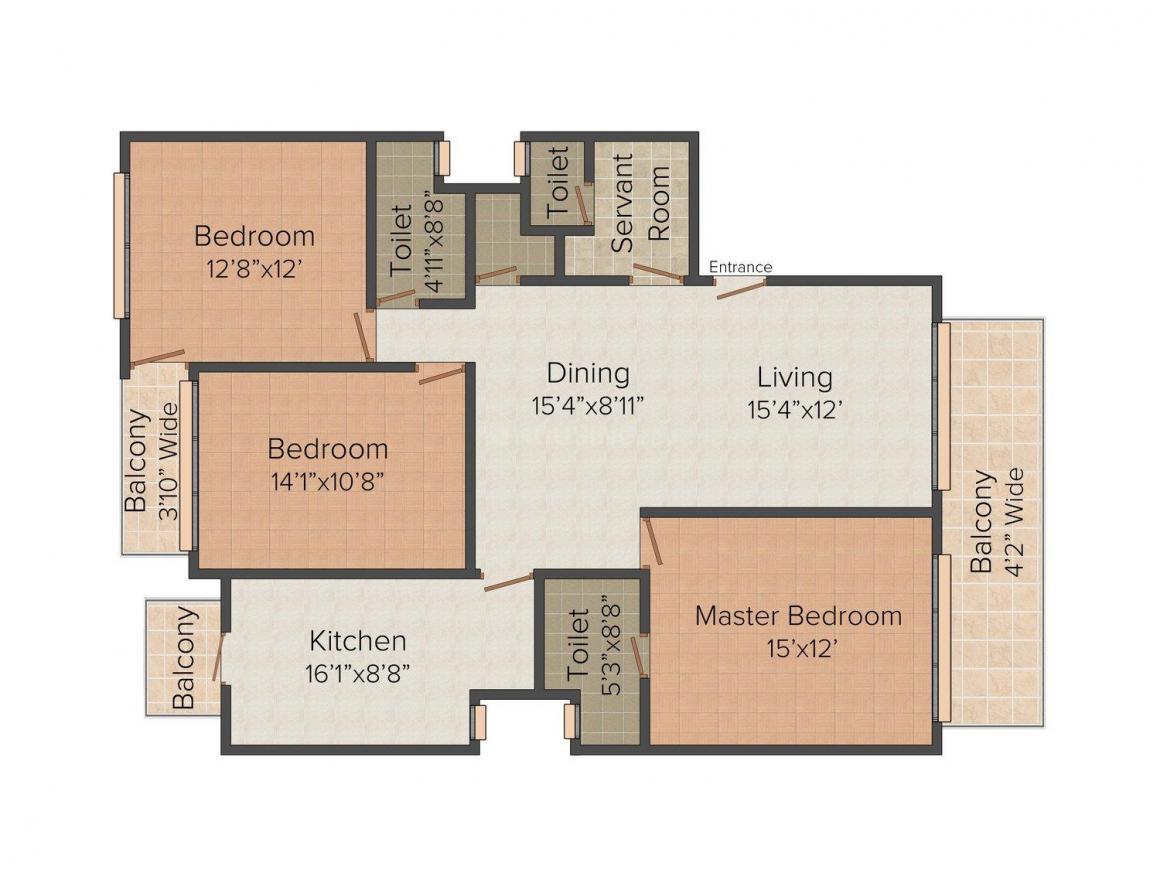 Floor Plan Image of 0 - 1500 Sq.ft 3 BHK Independent Floor for buy in N K Homes - 1