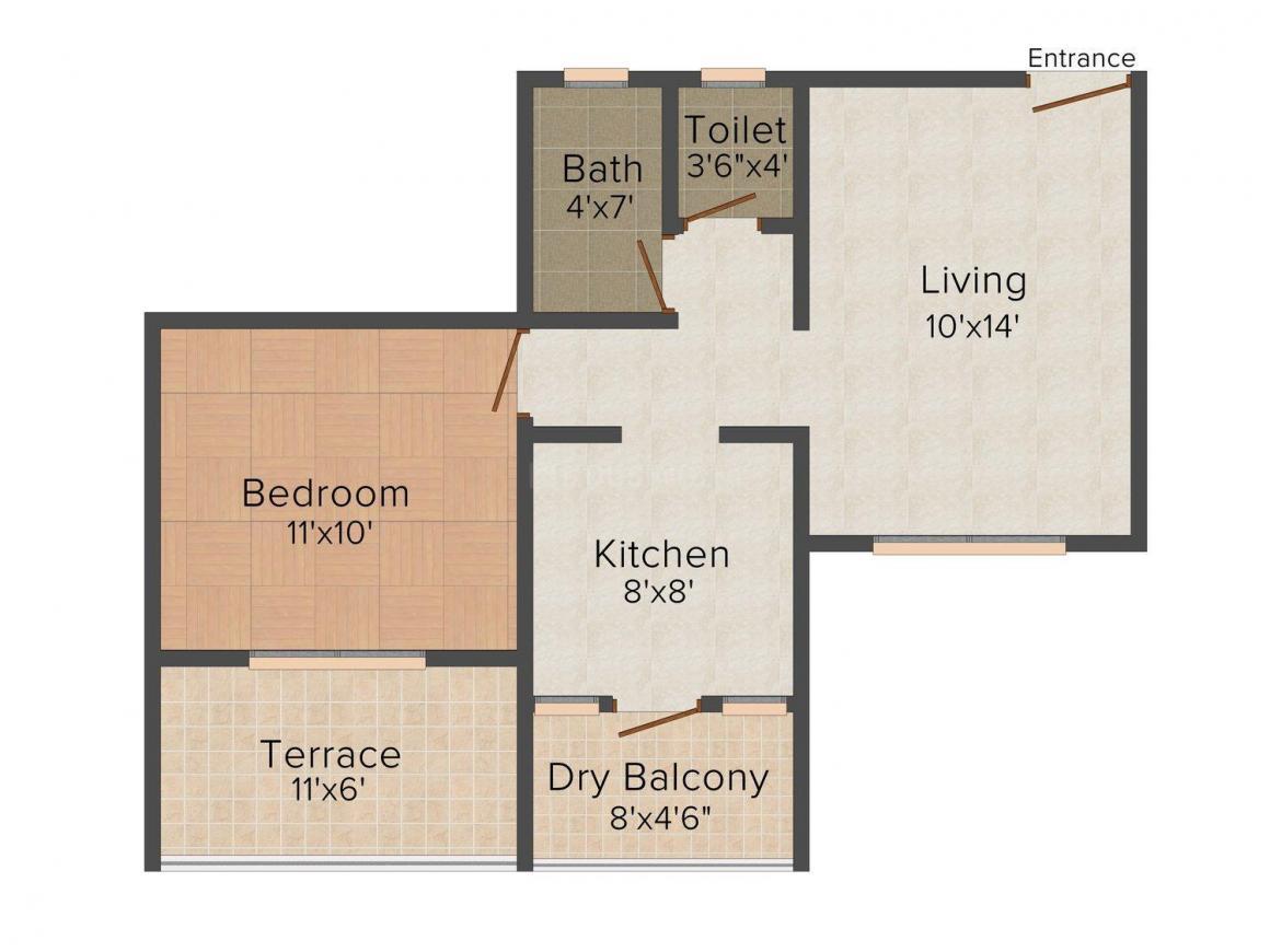 Shriram Aditi Ambar Floor Plan: 1 BHK Unit with Built up area of 660 sq.ft 1