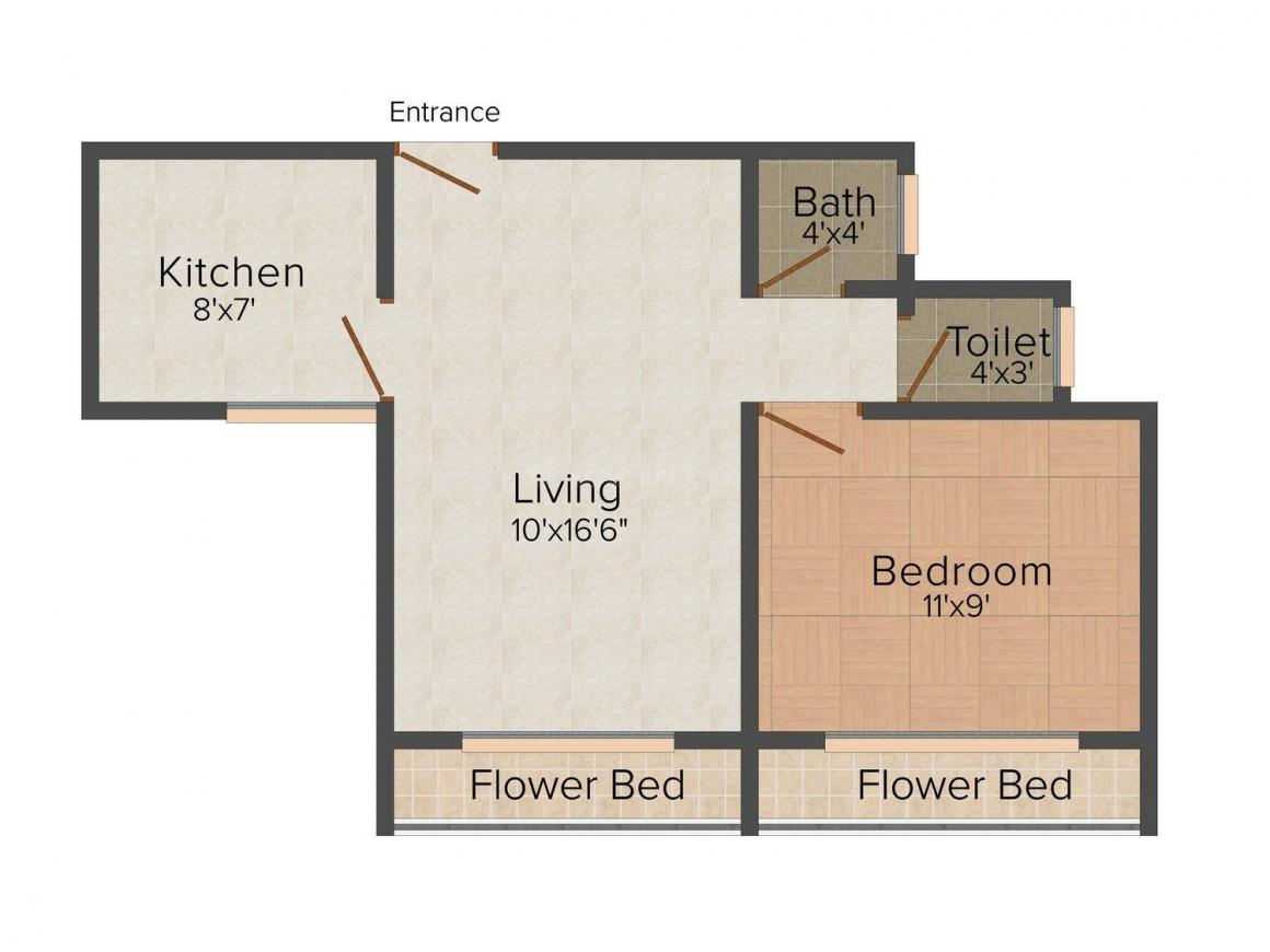Floor Plan Image of 755 - 1045 Sq.ft 1 BHK Apartment for buy in Shelter Nest