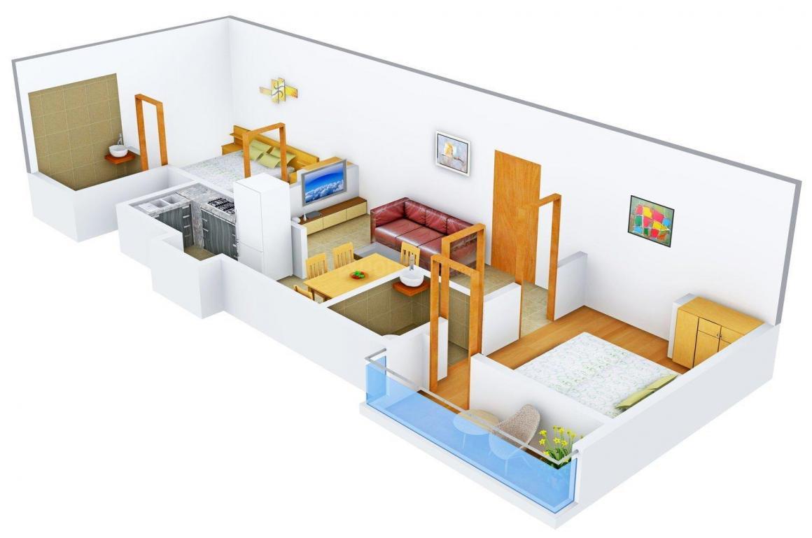 Bhaskar Babu Vijayanagar Project Floor Plan: 2 BHK Unit with Built up area of 710 sq.ft 1