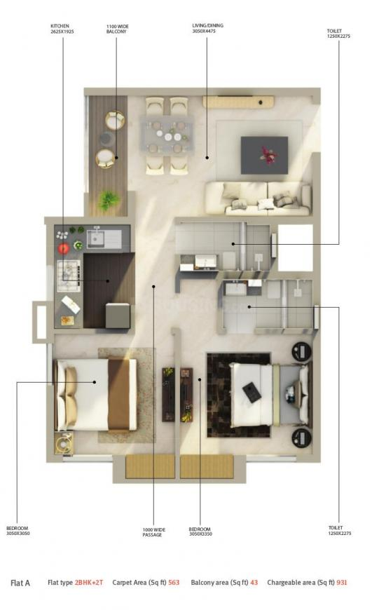 Amarana Residences Floor Plan: 2 BHK Unit with Built up area of 931 sq.ft 1