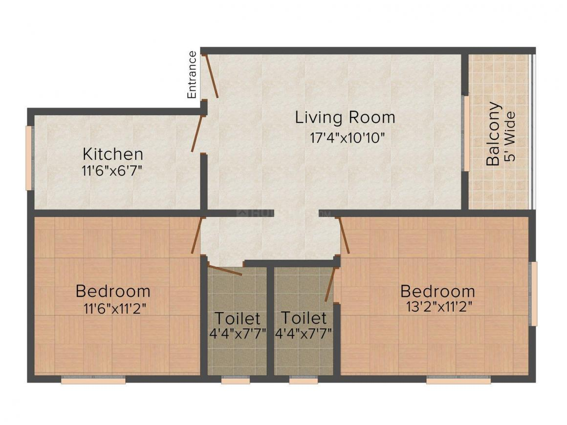 Floor Plan Image of 0 - 1077.0 Sq.ft 2 BHK Apartment for buy in Queeny Residentials