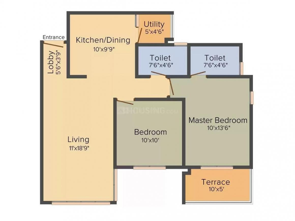 Expat Sereno Lake Homes Floor Plan: 2 BHK Unit with Built up area of 1053 sq.ft 1