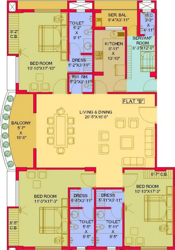 Ecoprime Exquisito Floor Plan: 3 BHK Unit with Built up area of 2691 sq.ft 1