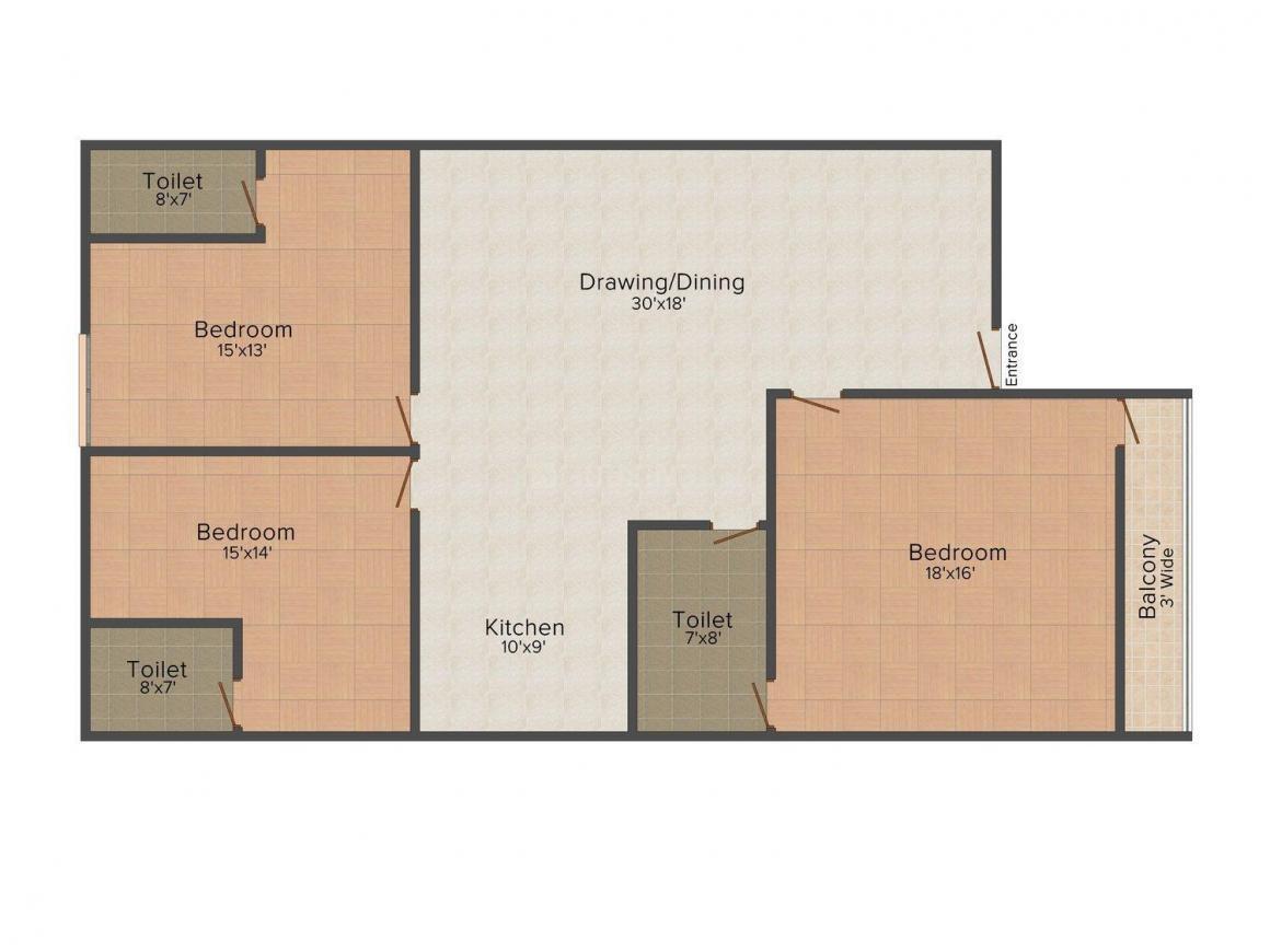 Saroj Swarna Villa Floor Plan: 3 BHK Unit with Built up area of 1800 sq.ft 1
