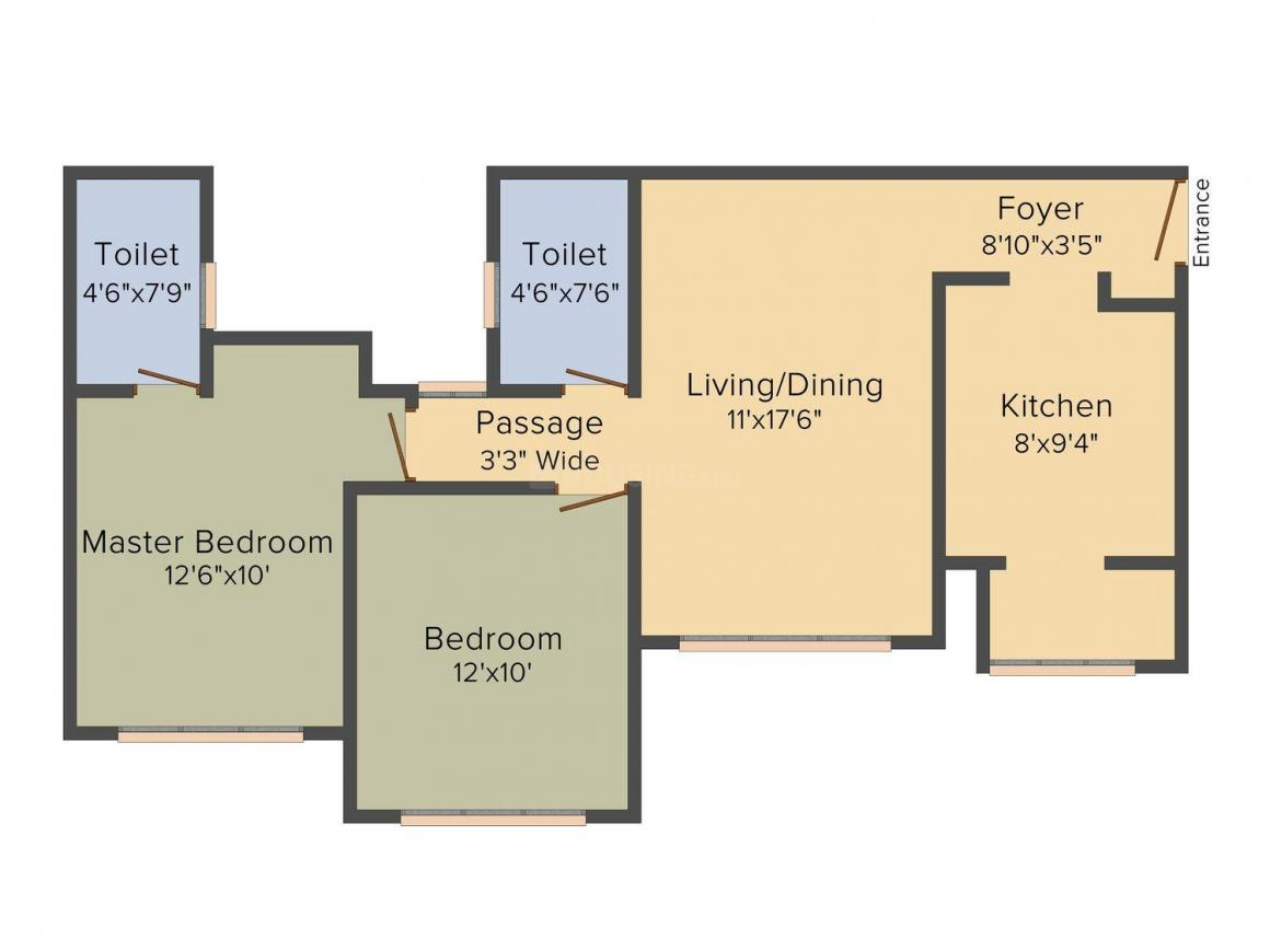 Floor Plan Image of 1125 - 1535 Sq.ft 2 BHK Apartment for buy in Tata Eleve
