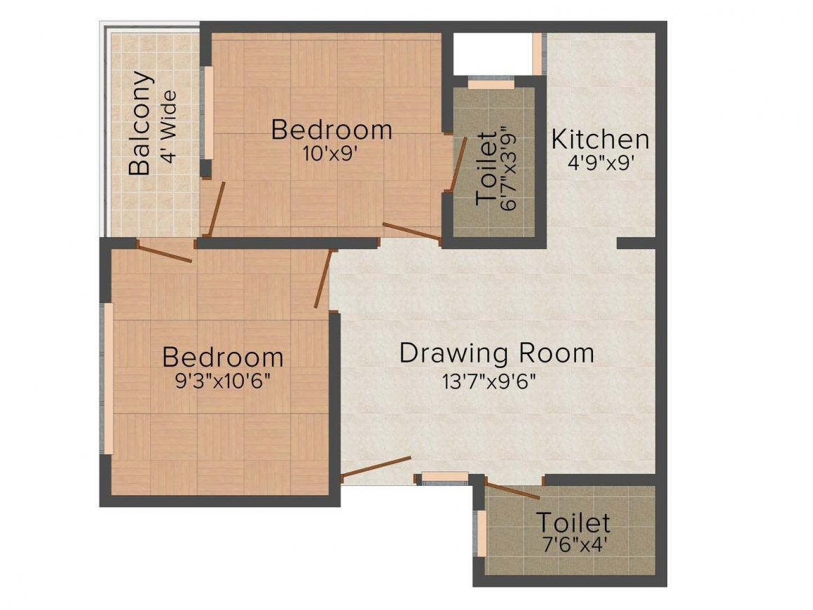 Aditya Apartment-1 Floor Plan: 2 BHK Unit with Built up area of 540 sq.ft 1