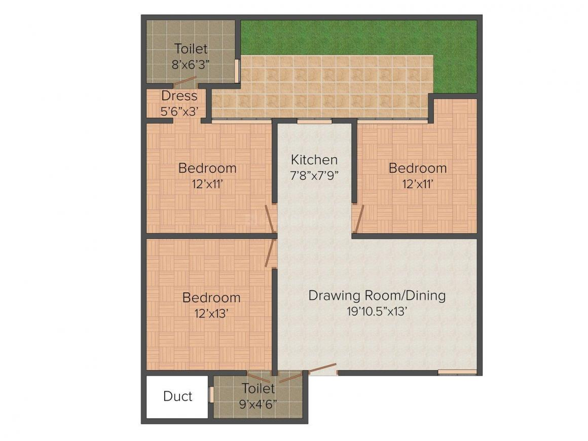 Bhoomi Homes Floor Plan: 3 BHK Unit with Built up area of 1426 sq.ft 1