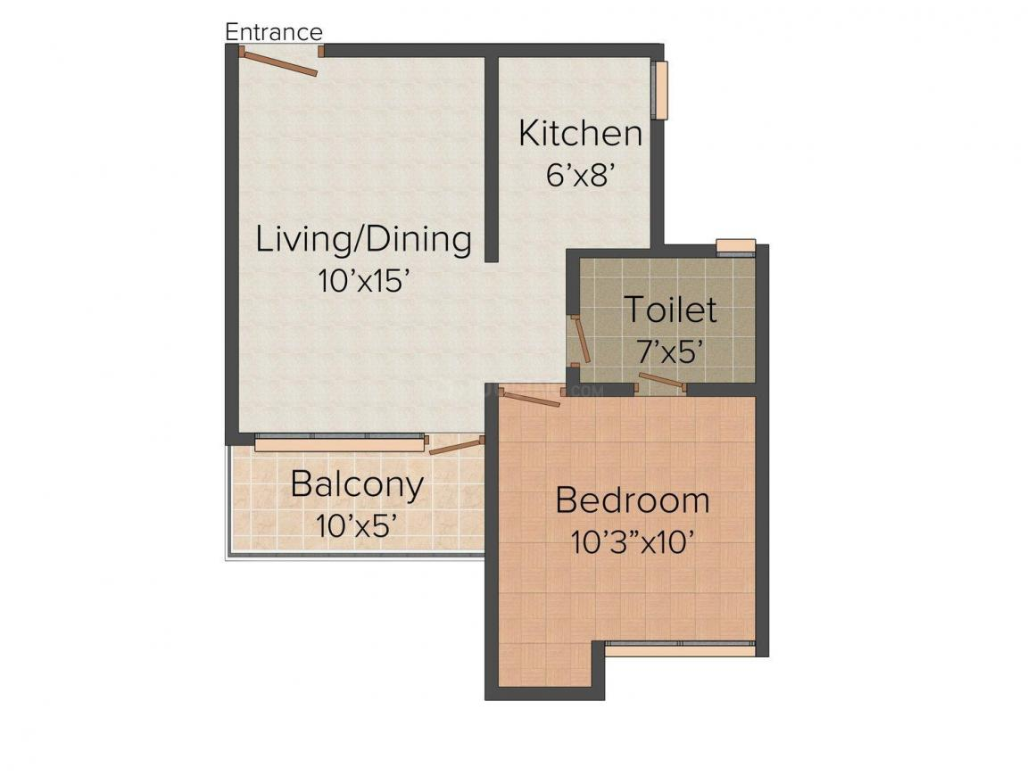 Floor Plan Image of 0 - 595.0 Sq.ft 1 BHK Apartment for buy in Trimurti Residency