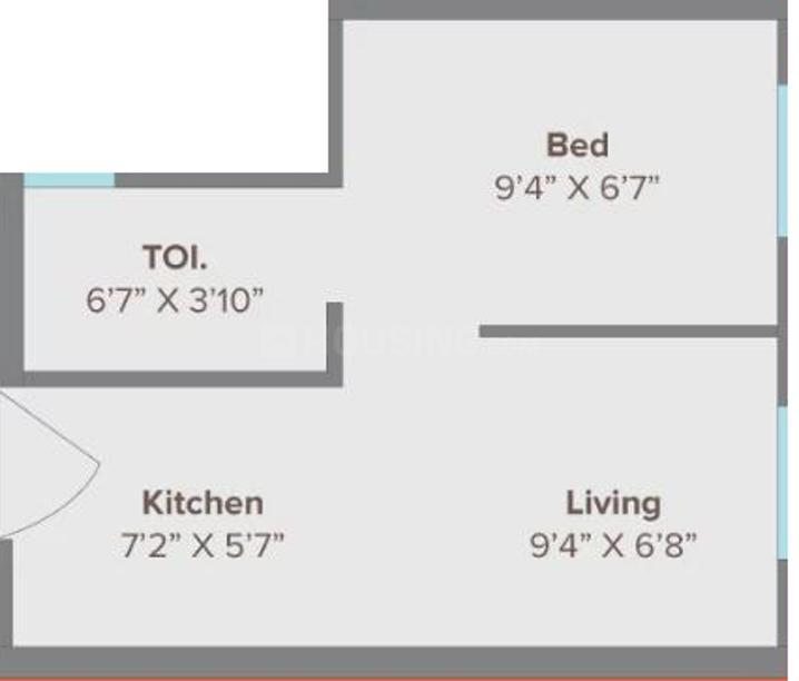 Marathon NeoHomes NeoHills Floor Plan: 1 BHK Unit with Built up area of 197 sq.ft 1