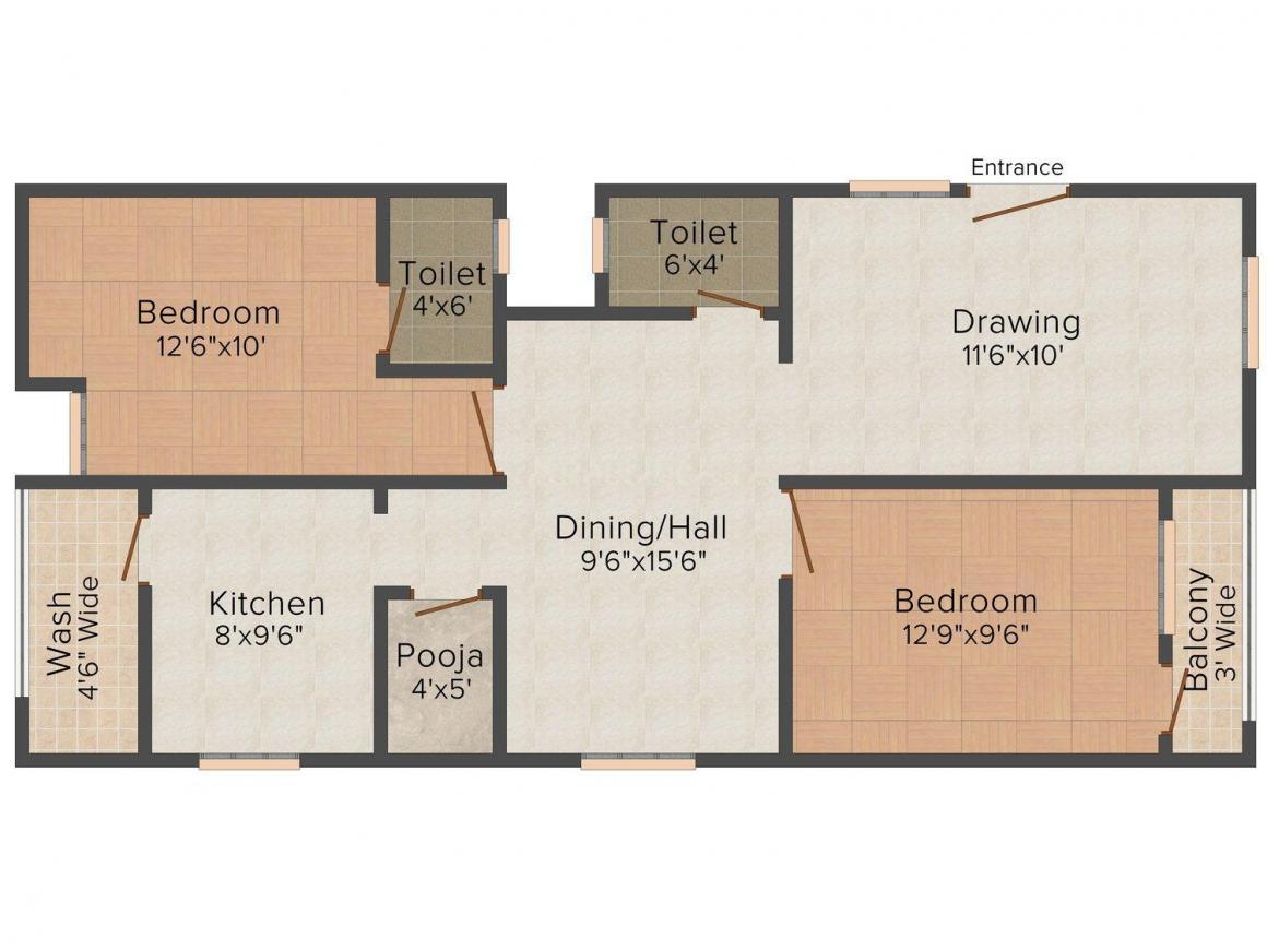 Vayuputra Ramakrishna Residency Floor Plan: 2 BHK Unit with Built up area of 1157 sq.ft 1