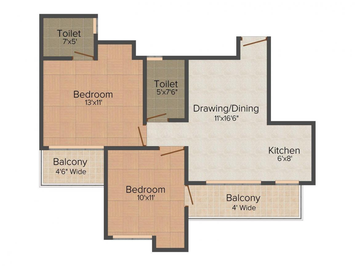 Amrapali Zodiac Floor Plan: 2 BHK Unit with Built up area of 950 sq.ft 1