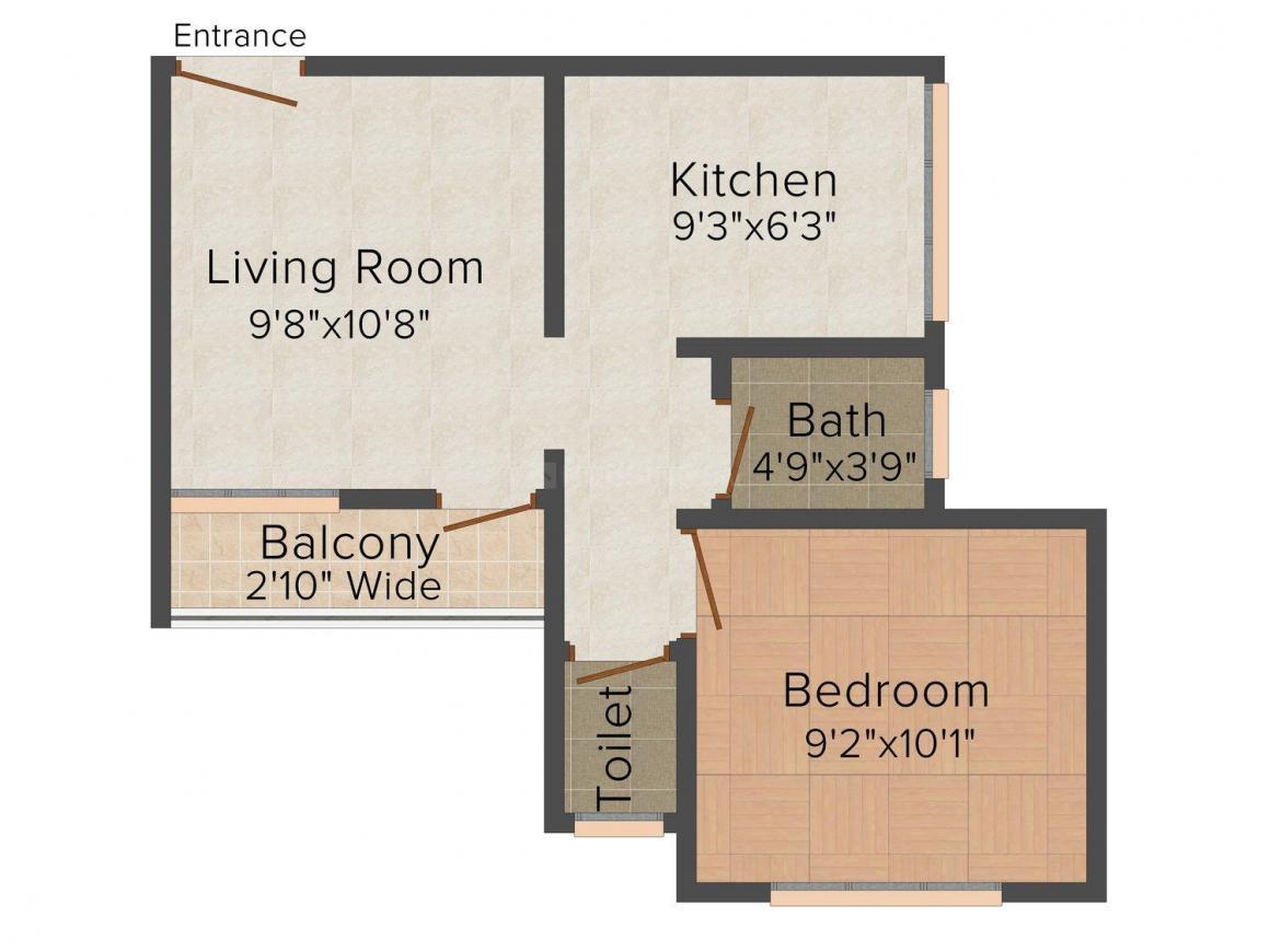 Floor Plan Image of 320 - 407 Sq.ft 1 BHK Apartment for buy in Sai Nirman